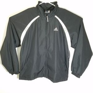 Vintage Adidas Mens L Black White Full Zip Jacket